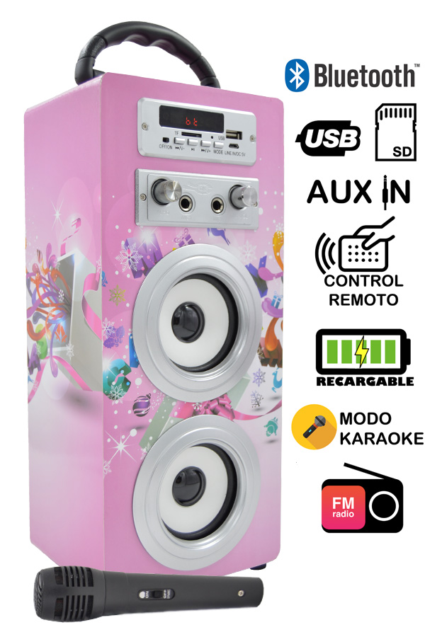 altavoz karaoke rosa
